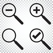 Set of loupe icon vector. Magnifier in flat style. Search sign concept. Simple business concept pictogram on isolated background.