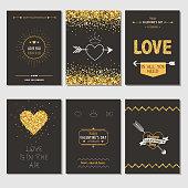 Set of Love Cards - Wedding, Valentine's Day, Invitation