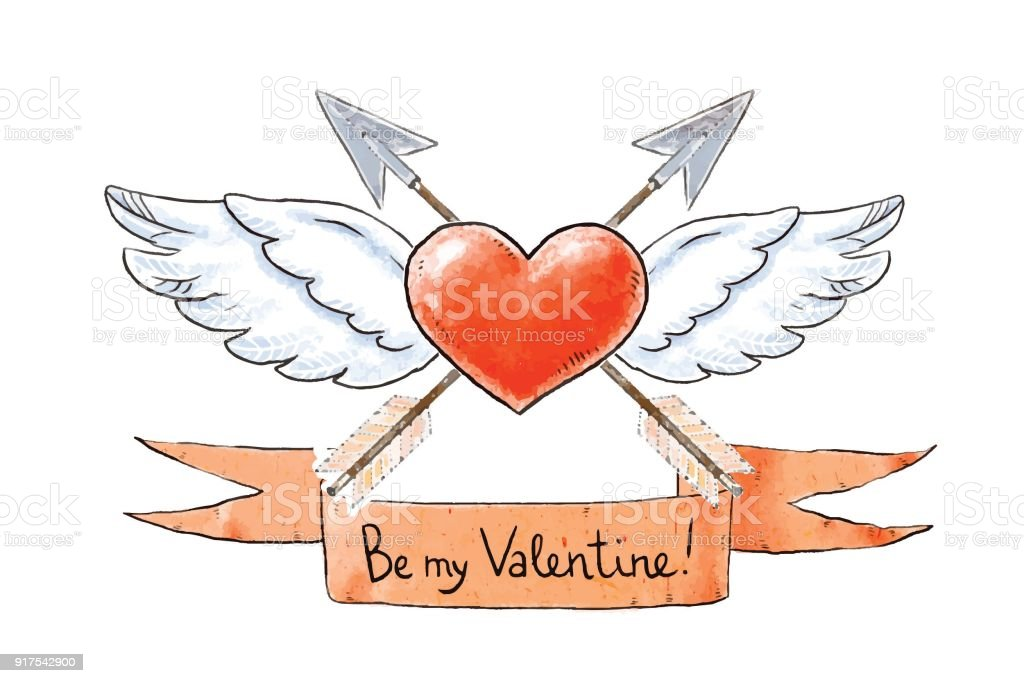 Set Of Love Elements For Valentines Day Winged Heart With Vintage Arrows And Be My