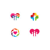 Set Of Love Helping Logo template designs vector illustration, People Charity Logo designs template with love symbol
