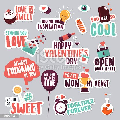 Set of love stickers for social network stock vector art more images of abstract 638592410 istock