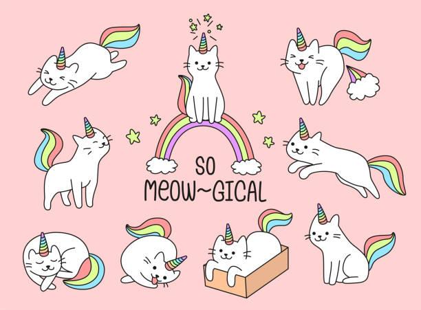素敵な猫のユニコーンのセット - 子猫点のイラスト素材/クリップアート素材/マンガ素材/アイコン素材
