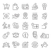 Set of Loyalty Program Related Line Icons. Editable Stroke. Simple Outline Icons.