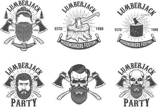 Set of lumberjack festival emblems. Lumberjack skull with crossed axes. Design element for poster, card, banner, emblem, sign, badge. Vector illustration