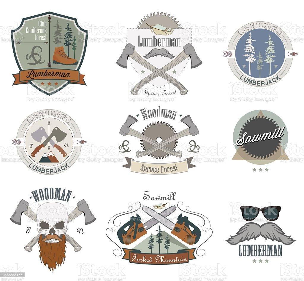 Lumberjack set di etichette emblemi ed elementi di design for Elementi di design