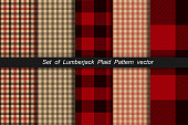 Set of Lumberjack plaid pattern. Lumberjack plaid and buffalo check patterns. Lumberjack plaid tartan and gingham patterns. Vector illustration background