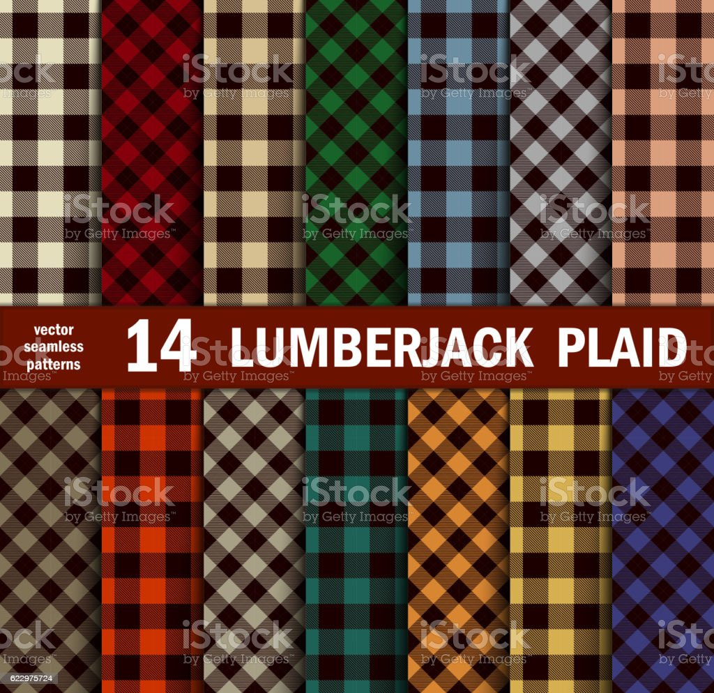 Set of Lumberjack Plaids Seamless Patterns in 14 Colours. vector art illustration