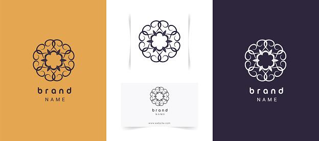 Set of luxury abstract mandala logo design.
