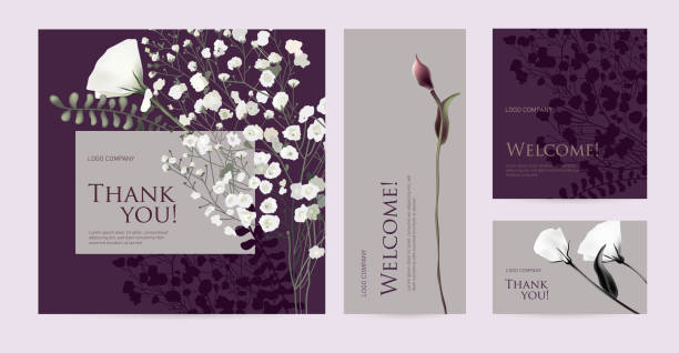 """A set of luxury cards with the words """"Thank you"""" and """"Welcome"""". Design template of business cards with floral elements for the hotel, beauty salon, spa, restaurant, club. Vector illustration violet flower stock illustrations"""