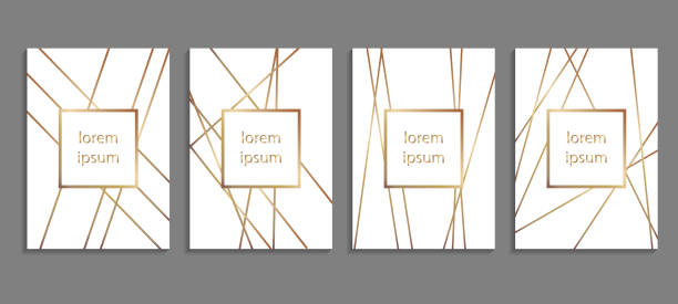 set of luxury cover templates. vector cover design for placards, banners, flyers, presentations and cards - geometric border stock illustrations, clip art, cartoons, & icons