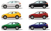 Set of luxury crossover vehicles in a variety of colors. Vector illustration on a light background