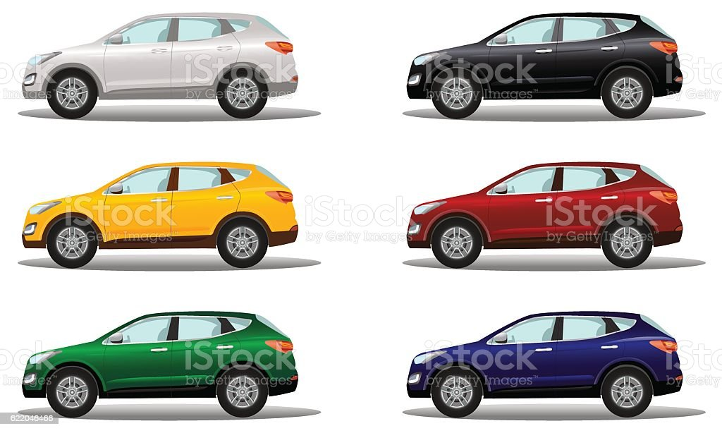 Set of luxury crossover vehicles in a variety of colors. vector art illustration