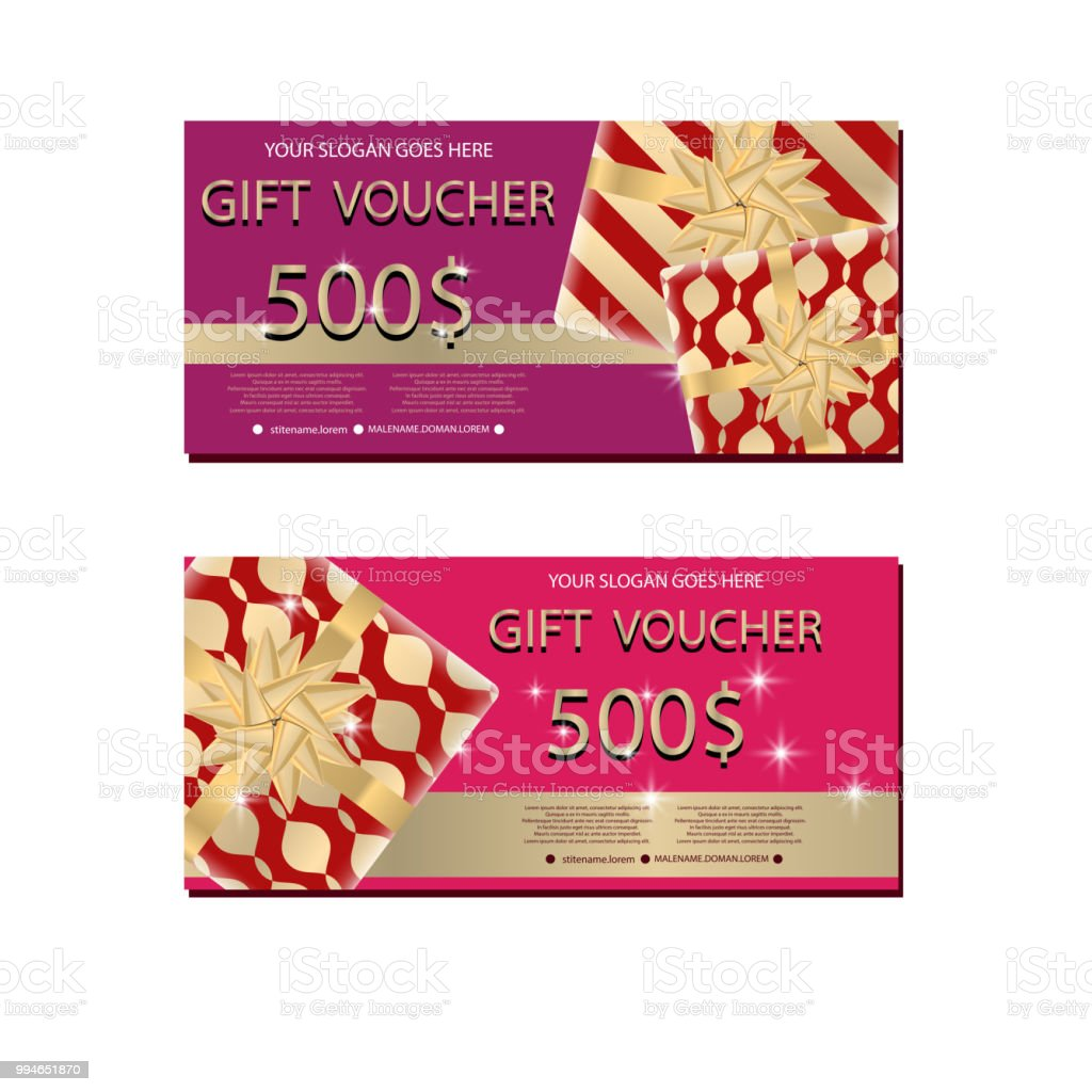 Set Of Luxury Gift Vouchers With Golden Ribbons Bows And Gift Box