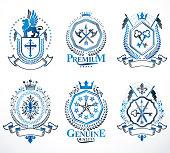 Set of luxury heraldic vector templates. Collection of vector blazons