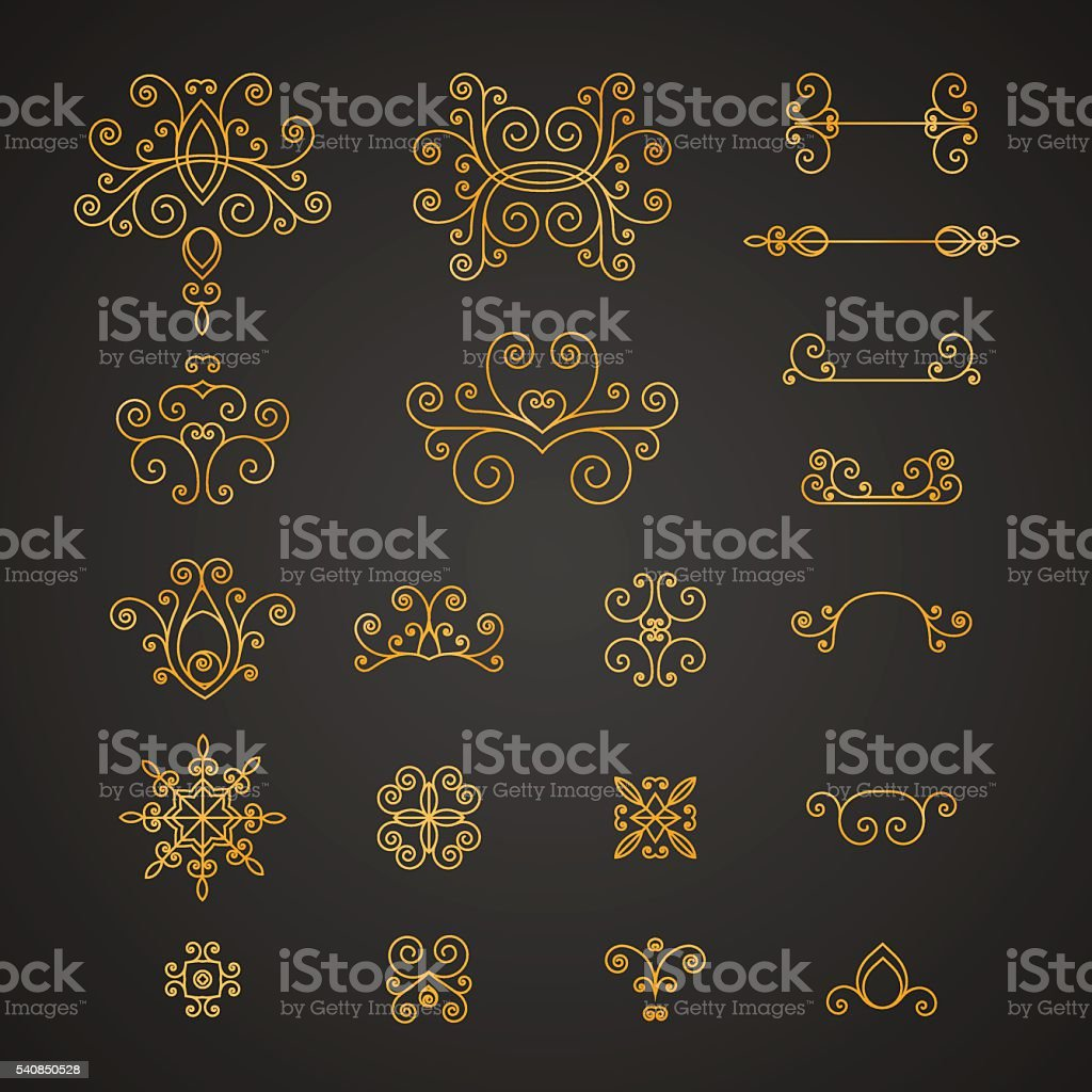 Set of luxury, vintage curls, flourishes and swirl for decoration. vector art illustration