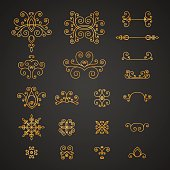 Set of luxury, vintage curls, flourishes and swirl for decoration.