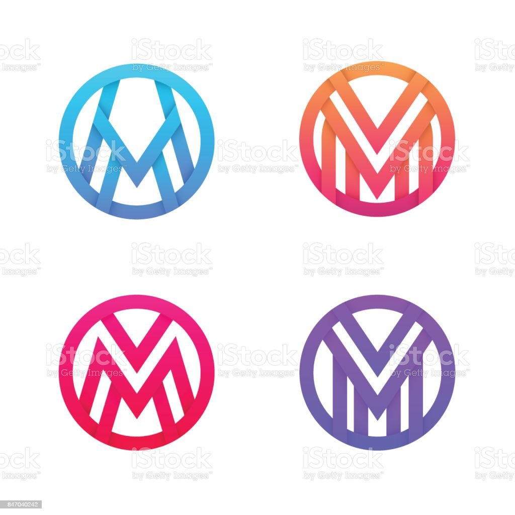 Set of M letter linear icon circle icon signs. vector art illustration