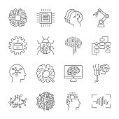Set of machine learning line icons. Simple pictograms pack. Vector illustration on a white background. Modern outline style icons collection. Editable Stroke. EPS 10