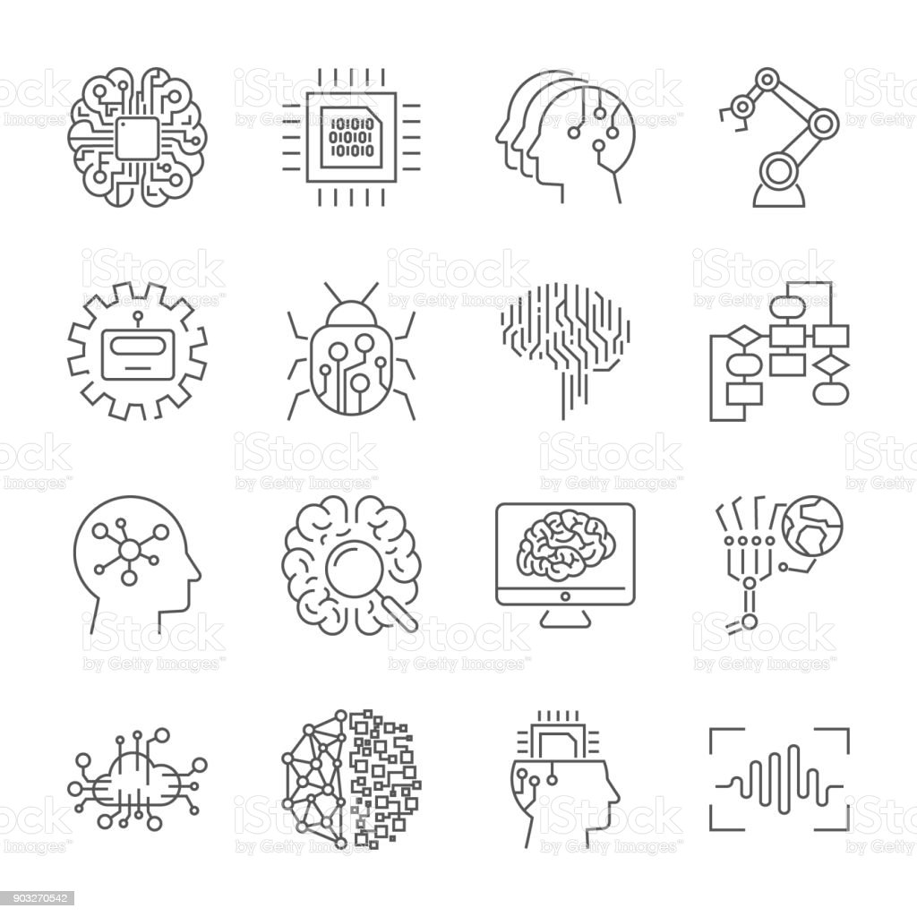 Set of machine learning line icons. Simple pictograms pack. Vector illustration on a white background. Modern outline style icons collection. Editable Stroke vector art illustration