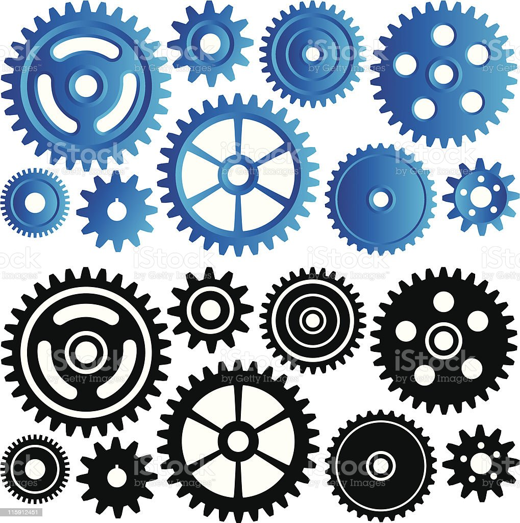 Set of machinery gears and cogs royalty-free stock vector art