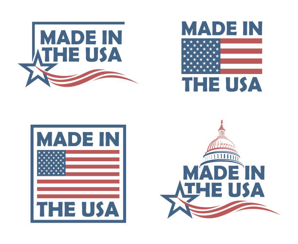 set of made in usa labels - wykonać stock illustrations
