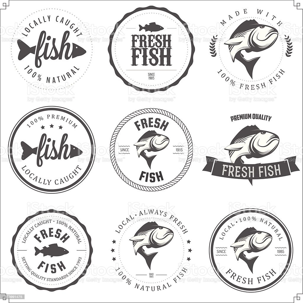 Set of made with fish stamps, labels and badges royalty-free stock vector art