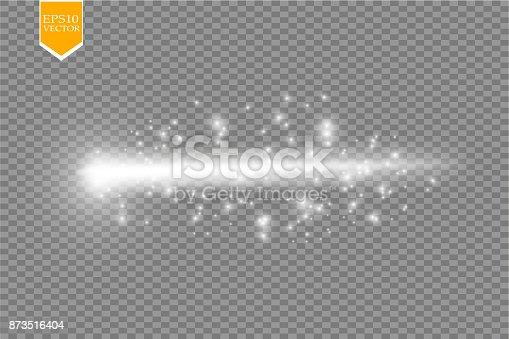 Set of magic glowing spark swirl trail effect isolated on transparent background. Bokeh glitter wave line with flying sparkling flash lights. Vector illustration. eps 10