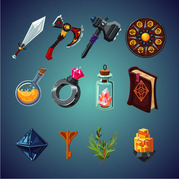 Set of magic items for computer fantasy game. Isolated cartoon icons set. Legendary collection. Set of magic items for computer fantasy game. Isolated cartoon icons set. weapon stock illustrations