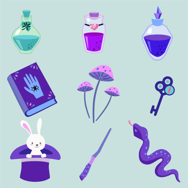 Set of magic items. Vector illustration. Can be used as elements for design or stickers. Set of magic items. Vector illustration. Can be used as elements for design or stickers. love potion stock illustrations
