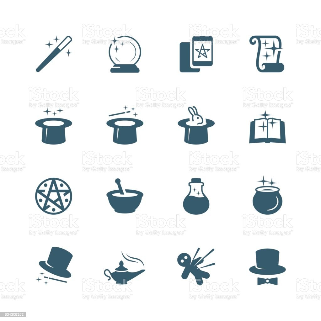Set of magic related vector icons vector art illustration