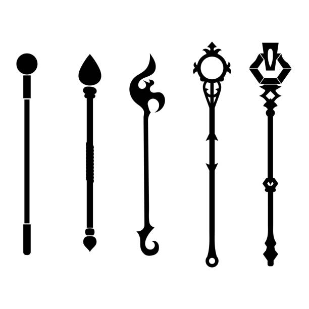 ilustrações de stock, clip art, desenhos animados e ícones de set of magic staff icons isolated on white background. magic wand, scepter, stick, rod. vector illustration for your design, game, card, web. - milagre evento religioso