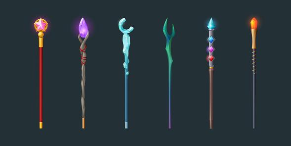 Set of magic staff, walk sticks or wands with gems