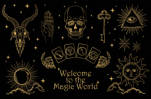 Set of magic symbols and esoteric signs