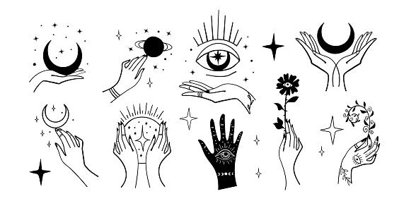 Set of magic symbols, witches tattoos. Crescent moon, hands with plants, magic ball, planets. Black linear sketch, boho design, modern vector illustration.