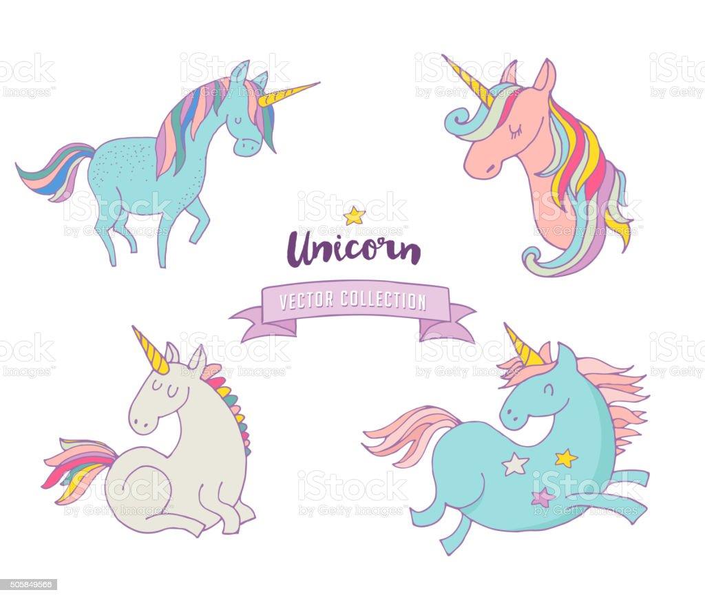 Set of magic unicons - cute hand drawn icons vector art illustration