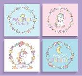 Set of magical unicorns cards.