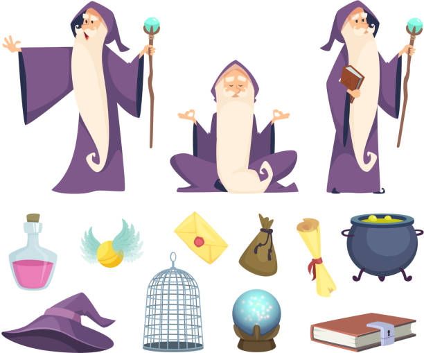Set of magician tools and male wizard character. Vector pictures isolated on white background Set of magician tools and male wizard character. Vector pictures isolated on white background. Illustration of wizard magic, mystery character potion stock illustrations