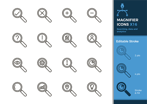 Set of magnifier icons. 16 vector illustrations with different elements for searching, data, analytics, business, finance and other concepts. Editable stroke