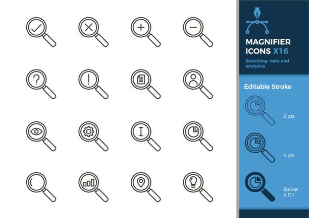 set von lupe icons. 16 vektor-illustrationen mit verschiedenen elementen gesucht, daten, analysen, wirtschaft, finanzen und andere konzepte. editierbare schlaganfall - lupe stock-grafiken, -clipart, -cartoons und -symbole
