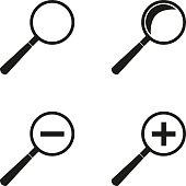 Set of magnifying glasses.