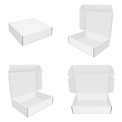 Set of mailing paper boxes with various views isolated on white background