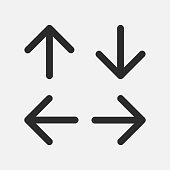 Set of main arrow top left right down pointers for websites or applications.