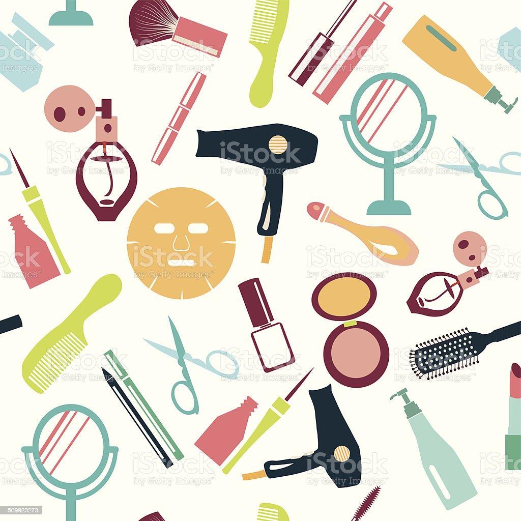 set of make up themed pattern-illustration vector art illustration