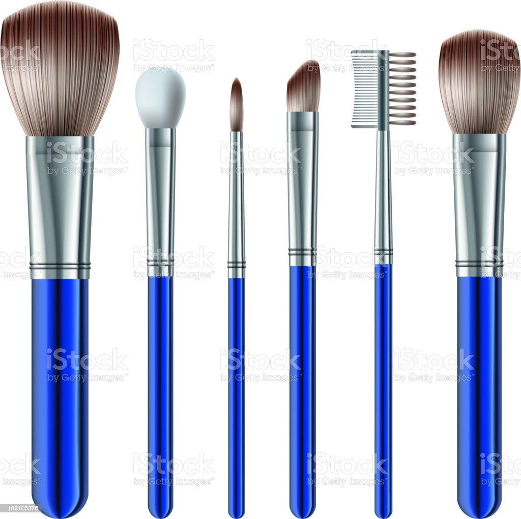 Set of makeup brushes vector art illustration