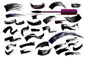 Set of make-up cosmetic mascara brush stroke texture design. Realistic mascara smear template. Mascara eyelashes. Hand drawn lash scribble swatch. Vector illustration. Isolated on white background.