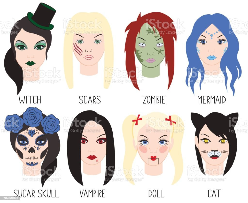 Set of makeup for Halloween. Vector illustration.