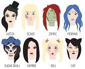 Set of makeup for Halloween. Vector illustration.