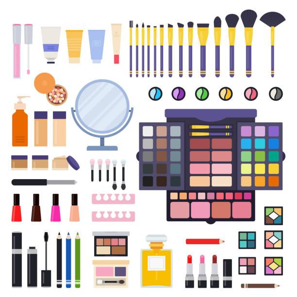 bildbanksillustrationer, clip art samt tecknat material och ikoner med uppsättning av makeup kit ikoner flat vector - makeup artist