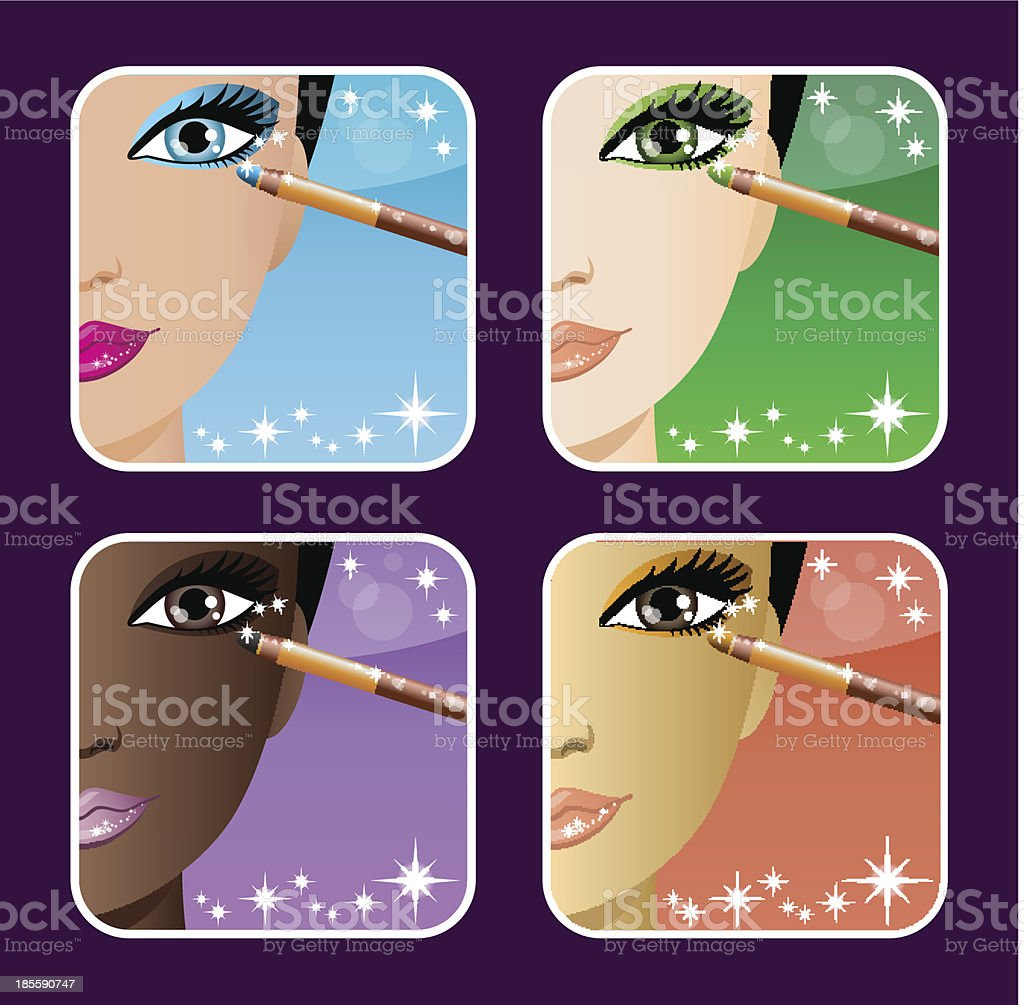 Set of makeup young European, Asian, African women. royalty-free set of makeup young european asian african women stock vector art & more images of adult