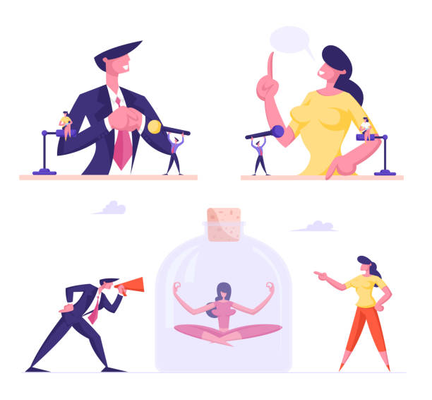 ilustrações de stock, clip art, desenhos animados e ícones de set of male and female business people performing on political debates at tribunes with microphones. meditating woman avoid stress characters isolated on white background. cartoon vector illustration - democracy illustration